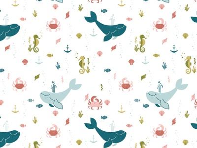 Under The Sea Pattern baby sea life animals vector erika firm clothing kids nautical fish crab seahorse whale