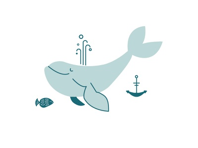 Happy Whale, Fish and Anchor icon baby apparel kids erika firm nautical vector fish anchor whale