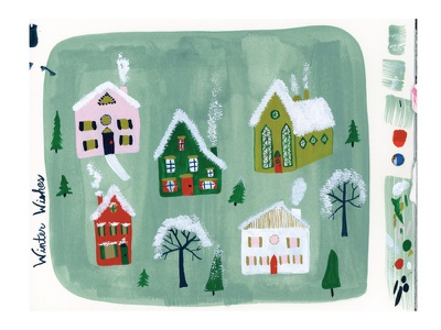 Winter Village Painting church new england cards greeting cards art painting gouache village erika firm christmas holidays winter