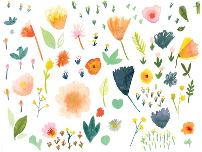 Spring Flowers Painting summer leaves watercolor art textiles pattern pretty erika firm botanical flowers floral spring