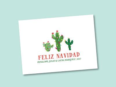 Feliz Navidad Cactus Holiday Card watercolor painted christmas lights cactus cards greeting cards erika firm feliz navidad christmas holidays spanish
