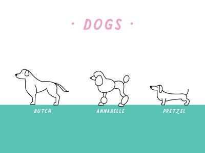 Dog Icons for Feltre Kids Soap Co. line art soap kids pets cute icons erika firm weenie weiner poodle labrador dogs
