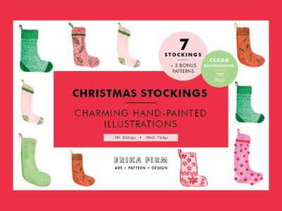 Christmas Stockings Watercolor Illustrations cute festive paintings illustrations watercolor erika firm winter holiday stockings christmas