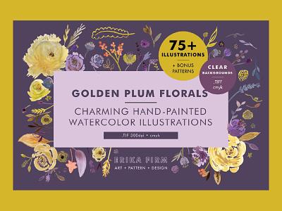 Golden Plum Floral Illustrations creative market romantic pretty chartreuse erika firm blooms flowers floral botanical plum purple