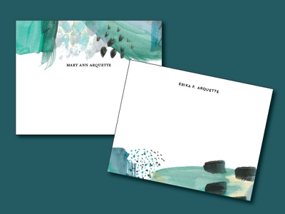 Midnight In The Garden Personal Stationery dark moody watercolor painting southern savannah abstract erika firm cards note cards stationery personal stationery