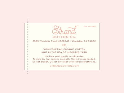 Strand Cotton Company Sew in Label california feminine pretty packaging sew in label sew-in textiles baby kids label erika firm cotton
