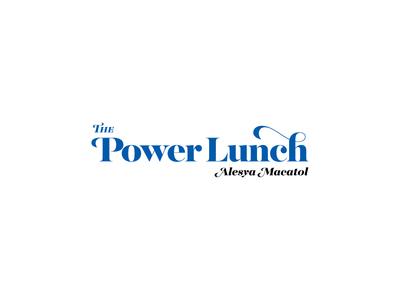 The Power Lunch by Alesya Macatol Logo header strong powerful 80s 70s retro logo marketing blog