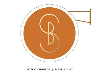 SB Monogram Blade Mount Sign exterior blade sign south carolina kiawah logo interior designer persimmon orange gold monogram initials signage