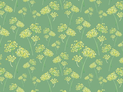 Dillweed Pattern watercolor green summer spring yellow repeating fabric pattern botanical flowers floral weed