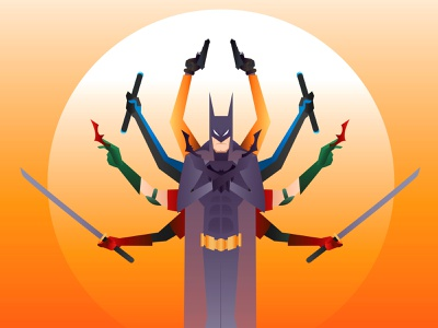 Batman robins rises gradient orange color side kick nightwing redhood robin bat flat design art vector illustraion batman