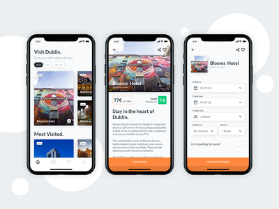 Visit Dublin - iOS Application book app travelling travel app travel booking app booking wireframing wireframe gif aniamtion mobile app design mobile animation mobile app iosapp iphonex ios
