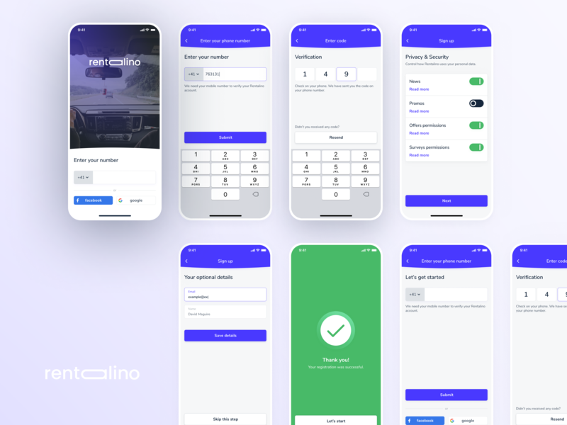 Rentalino - Registration Flow information architecture flow process flow user experience form sign in sign up verification car sharing rent a car rental app rentalino user interface ux design ui design automotive sharing car registration login