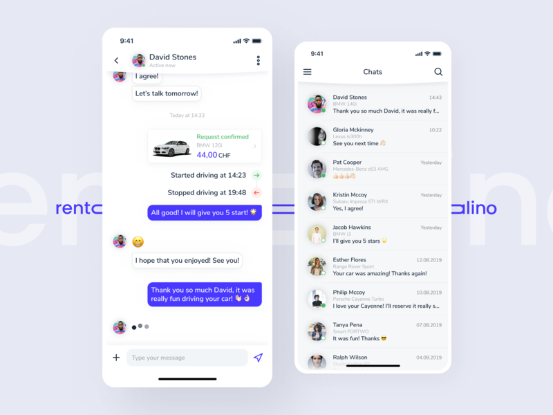 Rentalino - Chat driving bmw dealer automotive seller cars renting rental app car sharing chats rentalino messaging app message app messages message chatbox chat app chatbot chat