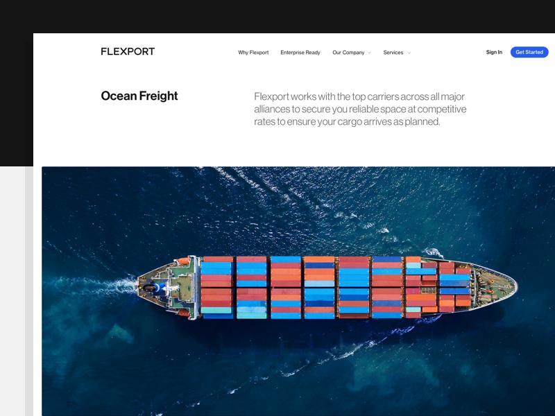 flexport.com neue haas grotesk branding logistics cargo shipping ocean freight