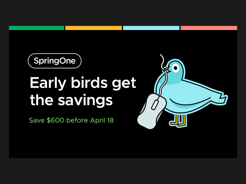 Early Bird Promo promotion developers java spring springone silly walking animation stickers black mouse pigeon bird conference promo