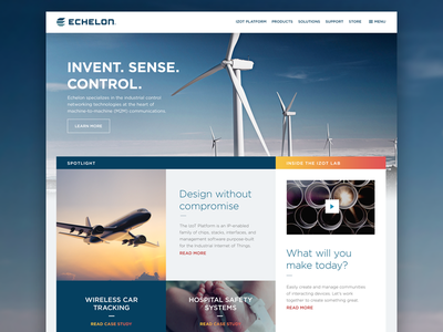 Echelon Corporation Home Page Design smart meters networking iiot boxes grid jet blue website home turbine industrial internet of things