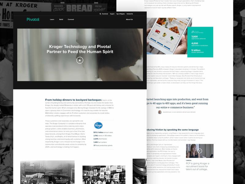 Kroger + Pivotal Customer Story video motion teal developers platform technology case study customer grocery enterprise kroger software website