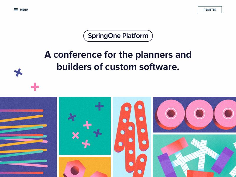 SpringOne Platform Exploration kit built spring enterprise bits grid austin illustration colorful conference bright coders builders toys pivotal website