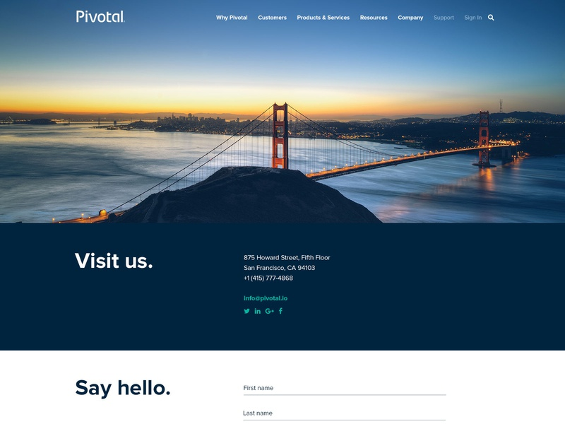 Contact Us Page minimal photo location directions form sunset bridge webpage website san francisco visit contact us contact