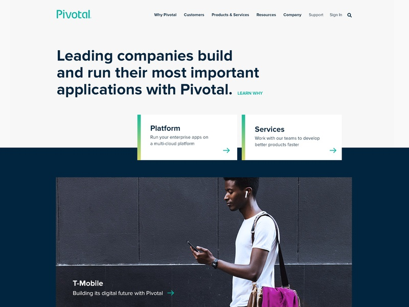 Pivotal Home Refresh open source logos cloud stats page refresh t-mobile applications customers services platform webpage website pivotal home