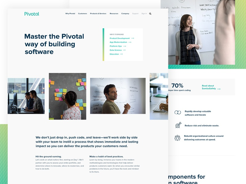 Pivotal Labs education data science platform ops product development consulting services labs page photo grid icons hatching gradient developers cloud enterprise software website