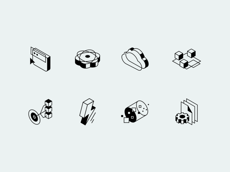 Spring Icons isometric website framework java outline black and white icons iconset serverless streams batch event-driven microservices reactive cloud web apps sping