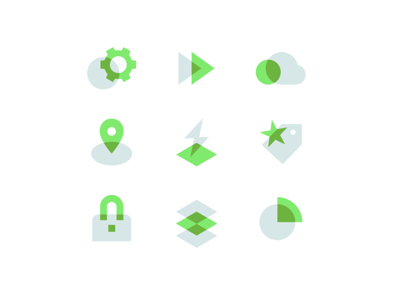 Spring Spot Illustrations icons set innovative flexible location lock security tag price speed play gear cloud reactive microservices java spring overprint iconset illustration icons