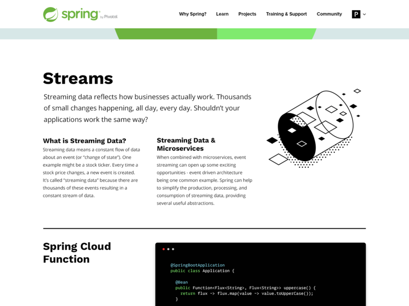 Spring Topic: Streams open source microservices function topic isometric black and white illustration java data console code streams spring website