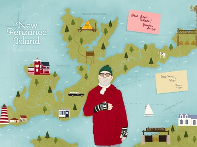 Illustrated map of fictional New Penzance Island movie poster movie art movie moonrise kingdom wes anderson colorful navigation illustration tourism map illustration map illustrator illustration art detailed
