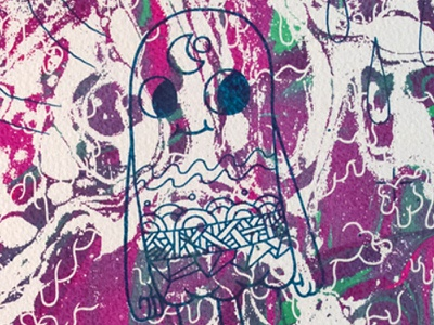 💚💜 Liquid 💜💚 illustration printmaking silk silkscreen screenprint artprint print split foutain
