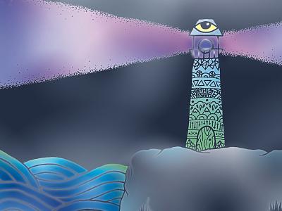 🌊🎇🌊 Lighthouse 🌊🎇🌊 third thirdeye eye illustrator sea illustration palette pastel colors color lighthouse