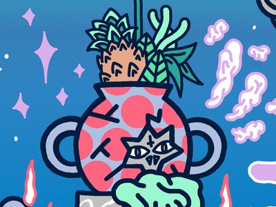 ✨🌴🍍👻🌷🌿✨ Sacred Pot ✨🌴🍍👻🌷🌿✨ pastel colors illustration flower fruit plant ananas monster pot sacred
