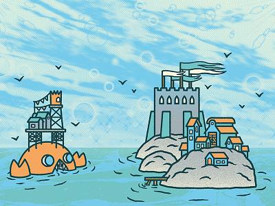 ⛳️🏝🦀🏝⛳️ Crab's Island ⛳️🏝🦀🏝⛳️ building house isle screentone flag medieval castle sea illustration island crab