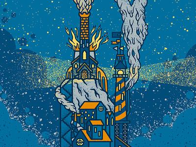 ✨🌅🏭🌅✨ Lighthouse's Island ✨🌅🏭🌅✨ cloud burn smoke illustration factory architecture building sea house light lighthouse