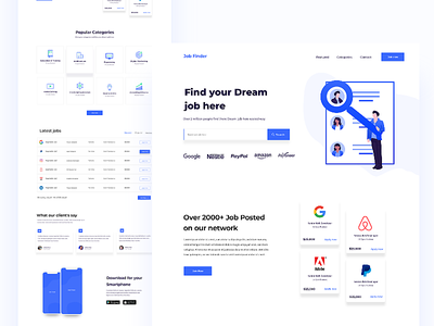 Job Finder Landing V2 2019 trends search clean illustration styleguide designs user experience user interface job landing color product creative ux typography minimal design web uiux ui