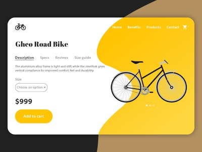 Bike Landing Page | Day #11 UI/UX Design Challenge clean yellow gradient landing page bike product product page