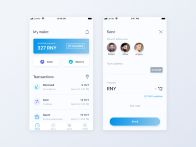 Crypto Mobile App - wallet and send screens