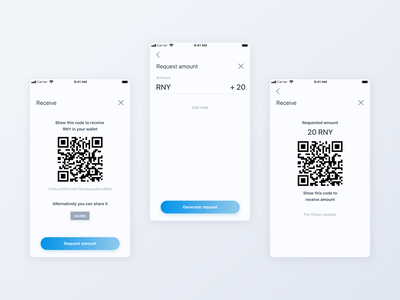 Crypto Mobile App - receive cryptocurrency mobile design amount qr code cryptocurrency request transaction receive crypto clean simple mobile app ui user interface