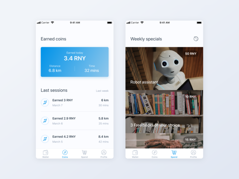Crypto Mobile App - earned coins by George Barbu on Dribbble