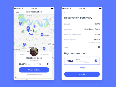 Bike Sharing - Reservation Summary payment method bike mobile mobile design unlock bike summary reservation app design ride sharing app ride sharing bike sharing clean mobile app design mobile app appdesign uidesign ux ui