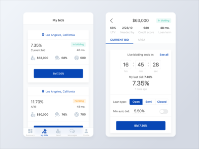 Lending Mobile App - In Bidding Screens