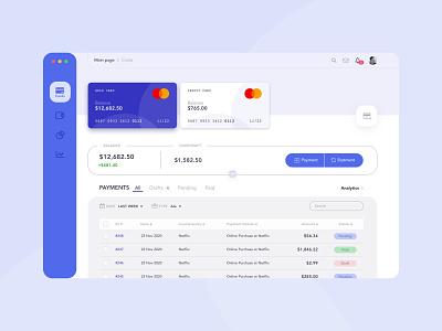 Finance desktop app money cards blue desktop ui finance bank