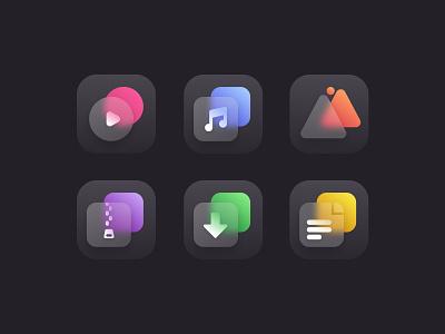 Gradient icons set set black gradient icons ui