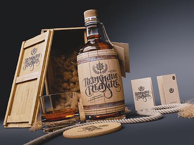 Helmsman's Treasure Branding branding custom lettering logo product design blender cgi whisky
