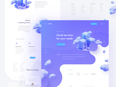 cloud services homepage homepage layout minimal clean illustration grid landing