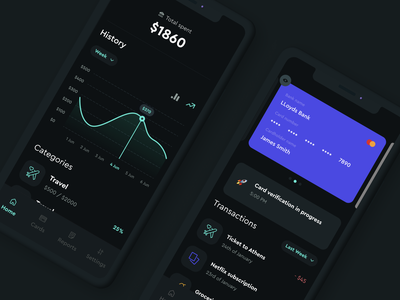 Fintech dark ui style exploration banking mobile dark ui android ios ui fintech