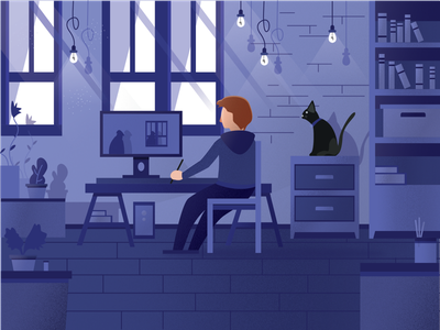 Home Workplace texture noise grain cat home office workspace flat illustrator