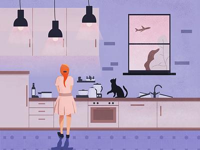 kitchen chores cat kitchen home noise texturized flat vector illustration