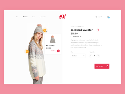Clothing product page micro interaction tooltips commerce avenir desktop web minimal ui fashion product