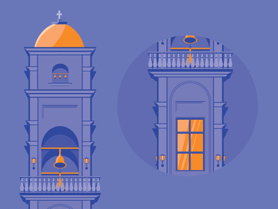 Orange architecture flat architecture vector art orange illustration